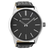 Oozoo C9424 Horloge Timepieces Collection staal zilverkleurig-zwart 48 mm