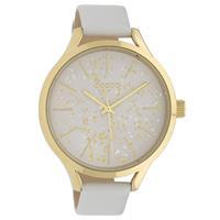 Oozoo C10085 Horloge Timepieces Collection staal/leder goudkleurig-wit 44 mm