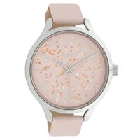 OOZOO C10087 Horloge Timepieces Collection staal/leder zilverkleurig-softpink 44 mm