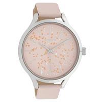 OOZOO C10087 Horloge Timepieces Collection staal/leder zilverkleurig-softpink 44 mm