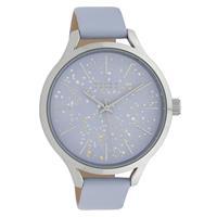 OOZOO C10089 Horloge Timepieces Collection staal/leder zilverkleurig-pastel-lila 44 mm