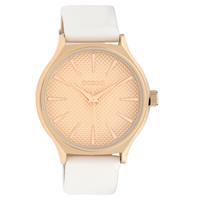 OOZOO C10105 Horloge Timepieces Collection staal/leder rosekleurig-wit 42 mm