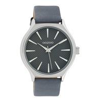 OOZOO C10107 Horloge Timepieces Collection staal/leder zilverkleurig-blauwgrijs 42 mm