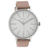 OOZOO C10122 Horloge Timepieces Collection staal/leder zilverkleurig-blushpink 45 mm