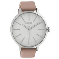 OOZOO C10122 Horloge Timepieces Collection staal/leder zilverkleurig-blushpink 45 mm