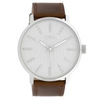 Oozoo C10035 Horloge Timepieces Collection staal zilverkleurig-bruin 48 mm