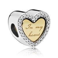 Pandora Shine 767606CZ Bedel zilver goudkleurig In my Heart