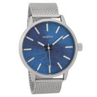 Oozoo C9656 Horloge Timepieces Collection staal zilverkleurig/blauw 45 mm