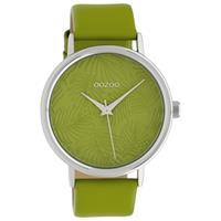 OOZOO C10168 Horloge Timepieces Collection staal/leder groen 42 mm