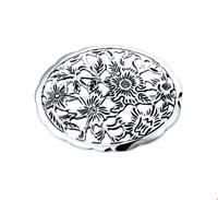 Broche Bloemen Zilver Geoxideerd