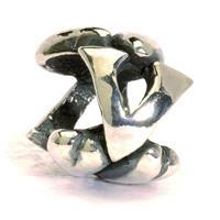 Trollbeads bedel zilver letter V TAGBE-10081