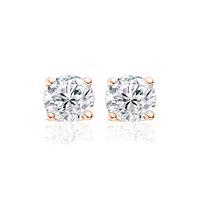 9NB-0043 - Zilveren oorstekers - zirkonia rond 6 mm - rosékleurig