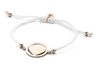 8CB-90182 - Armband met stalen bedel - hart - one-size - wit / rosékleurig