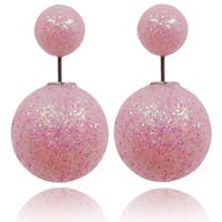lookinggoodtoday Double Dots oorbellen Shiny Pink