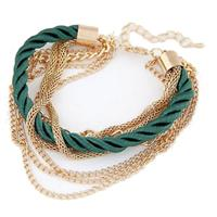lookinggoodtoday Fashion armband Metal Chain Braided rope Groen