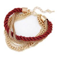 lookinggoodtoday Fashion armband Metal Chain Braided rope Rood