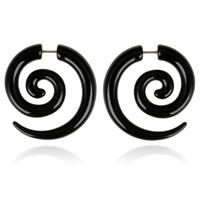 lgtjwls Tribal bone oorbellen Black Spiral