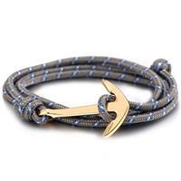 lgtjwls Verguld anker armband met polyester koord