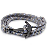 lgtjwls Anker armband polyester koord Grijs met Zwart