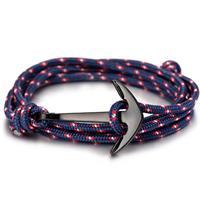 lgtjwls Anker armband zwart met blauw polyester koord