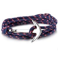 lgtjwls Zilverkleurige Anker armband met polyester koord