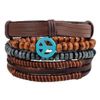 lookinggoodtoday Armbanden set bruin leer met houten kralen en Peace Logo