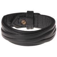 lgtjwls Zwarte leren armband met gesneden leer
