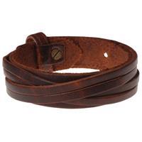 lgtjwls Bruine leren armband met gesneden leer