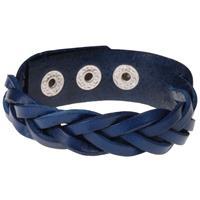 lgtjwls Leren mannen armband Twisted Wrap Vintage Blauw