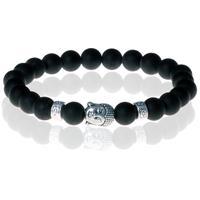 memphis Kralen armband heren Matte Onyx Buddha Silver