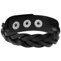 lgtjwls Leren mannen armband Twisted Wrap Zwart