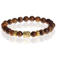 memphis Heren kralen armband Tigereye Buddha Gold