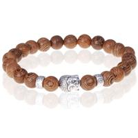 memphis Bruine houten kralen armband zilverkleurige Buddha
