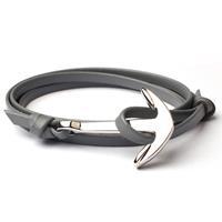 lgtjwls Anker armband leren koord grijs met zilver