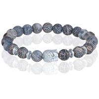 memphis kralen armband Frosted Agaat Silver Buddha