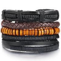 lookinggoodtoday Leren armbanden set met bruine kralen