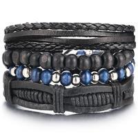 lookinggoodtoday Armbanden set zwart leer en zilverkleurige kralen