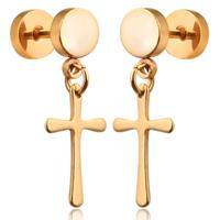 mendes Cross Stud oorbellen Titanium Gold