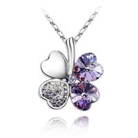 Van Amstel Ketting Clover Purple - Swarovski Elements