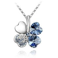 Van Amstel Ketting Clover Light Blue - Swarovski Elements