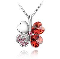Van Amstel Ketting Clover Red - Swarovski Elements