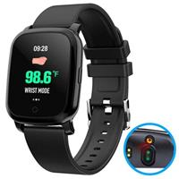 Waterbestendig Bluetooth Smartwatch met Ir Thermometer Cv06 - Zwart