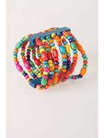 bouffante Houten Ibiza stretch armband in turquoise / multicolor