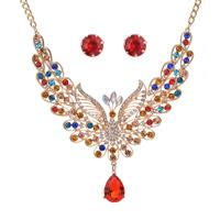 newchic Elegant Peacock Womens Jewelry Set Luxury Colorful Rhinestone Bird Animal Clavicle Necklaces Earring