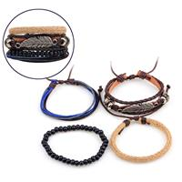 newchic Leaf Men Bracelet Pure Handmade Calfskin Hemp Rope Multi-root Combination Bracelet