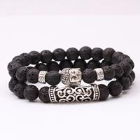 newchic Retro Bead Bracelet 8mm Natural Beading Bracelet Alloy Buddha Double Layer Bracelet