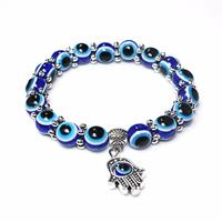 newchic Retro Dark Blue Eye Beaded Bracelet Tima's Hand Lucky Bracelet For Women