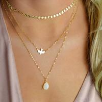 newchic Bohemian Peace Pigeon Multi-layer Necklace Water Drop Pendant Alloy Chain Charm Necklace