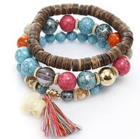 newchic Bohemian Multi-Layer Wooden Tassels Bracelet Cutely Elephant Beaded Bracelet
