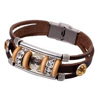 newchic Vintage Genuine Leather Bracelet Punk Rhinestone Bead Bangle Gift for Her